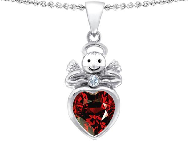 Star K Love Angel Pendant Necklace with 10mm Simulated Garnet Heart in Sterling Silver