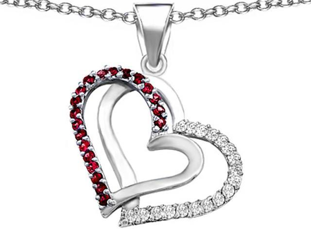 Star K Round Created Ruby Double Hearts Pendant Necklace in Sterling Silver