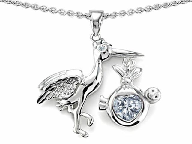 Star K Baby Stork Mother Pendant Necklace with 8mm Heart Shape Genuine White Topaz in Sterling Silver