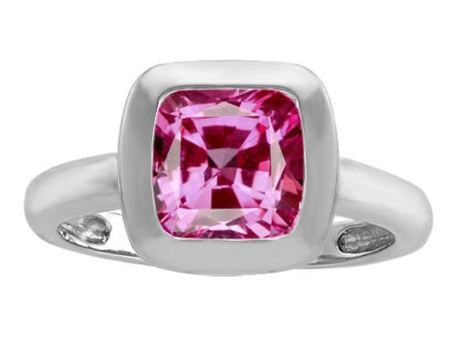 Star K 8mm Cushion Cut Solitaire Ring with Created Pink Sapphire in Sterling Silver Size 7
