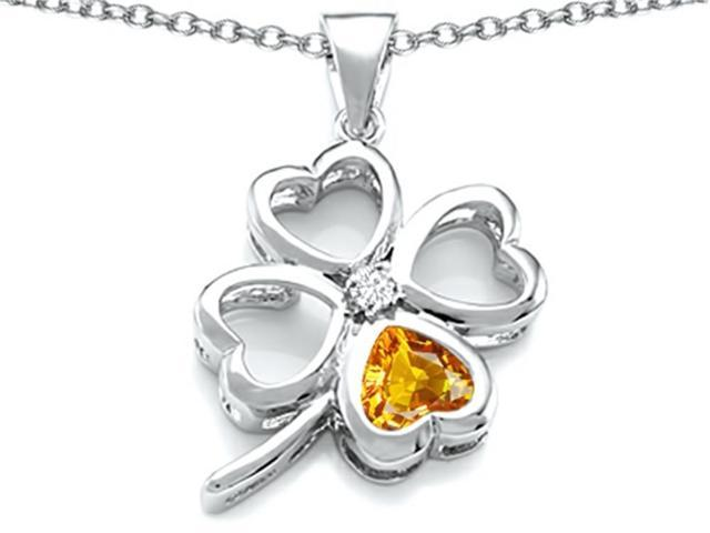 Star K Large 7mm Heart Shape Simulated Citrine Lucky Clover Heart Pendant Necklace in Sterling Silver