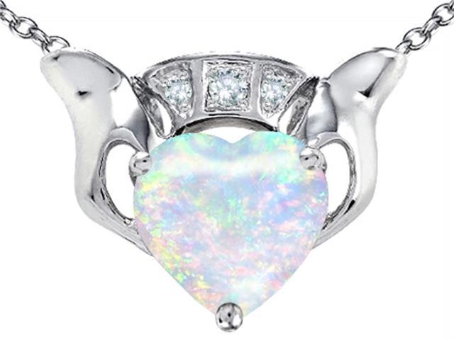 Star K 8mm Heart Claddagh Pendant Necklace Created Opal and Cubic Zirconia in Sterling Silver