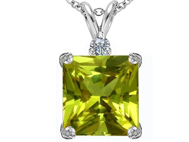 Star K Large 12mm Square Cut Simulated Peridot and Cubic Zirconia Pendant Necklace in Sterling Silver