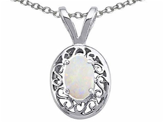 Tommaso Design 7x5mm Oval Genuine Opal Pendant Necklace in 14 kt White Gold