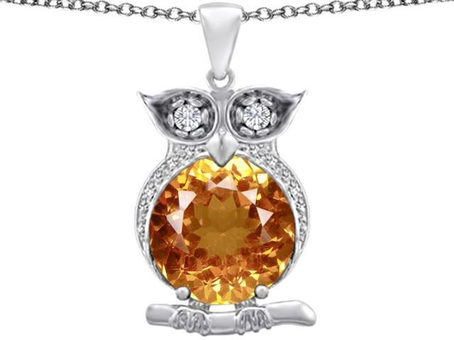Star K Large 10mm Round Simulated Imperial Yellow Topaz Good Luck Owl Pendant Necklace in Sterling Silver