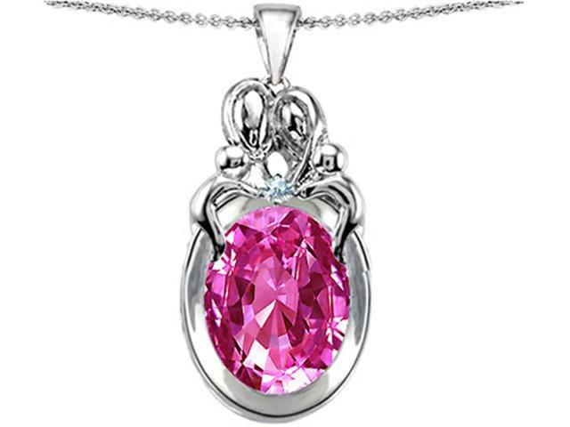 Star K Large Loving Mother Twin Family Pendant Necklace with Oval Created Pink Sapphire 11x9mm in Sterling Silver