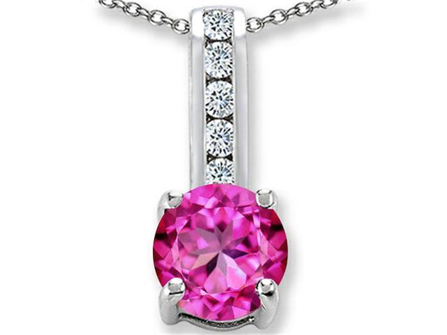 Star K Round 7mm Created Pink Sapphire Pendant Necklace in Sterling Silver