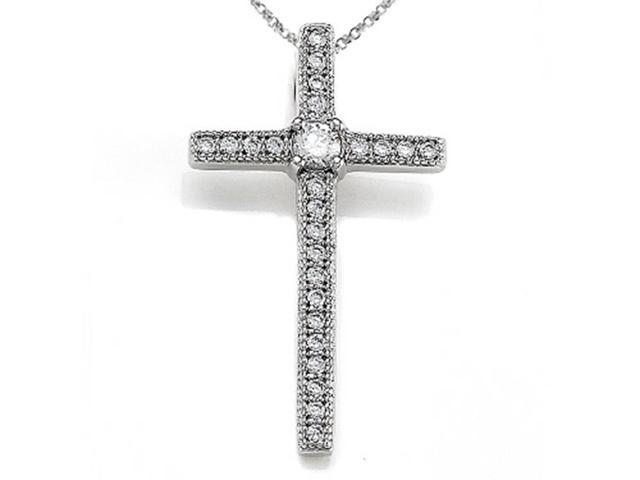 Zoe R Sterling Silver Micro Pave Hand Set Cubic Zirconia CZ Medium Cross Pendant Necklace