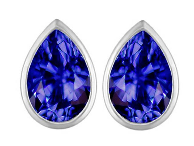 Star K 9x6mm Pear Shape Simulated Tanzanite Earrings Studs in Sterling Silver