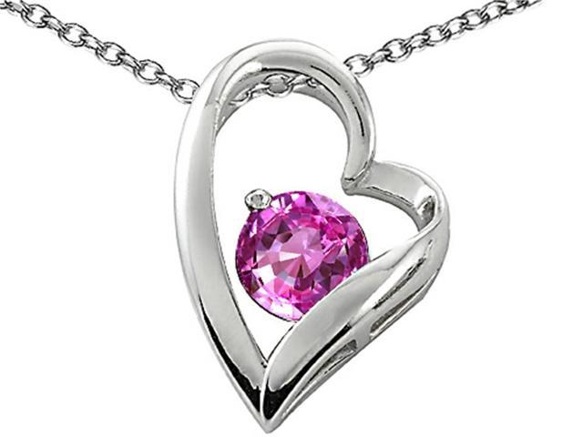 Star K 7mm Round Created Pink Sapphire Heart Pendant Necklace in Sterling Silver