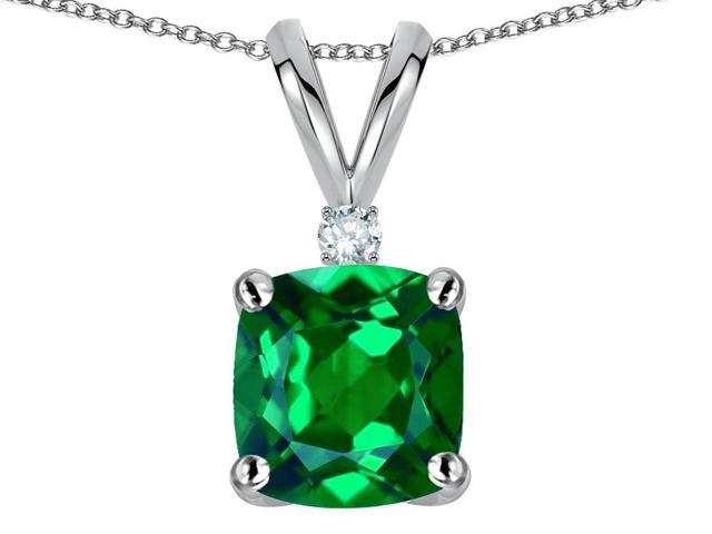 Star K 7mm Cushion Cut Simulated Emerald Pendant Necklace in 14 kt White Gold