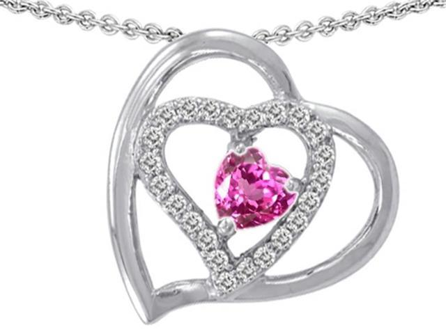 Star K 6mm Heart Shape Created Pink Sapphire Pendant Necklace in Sterling Silver