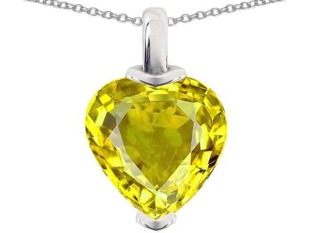 Star K 10mm Heart Shaped Simulated Citrine Pendant Necklace in Sterling Silver