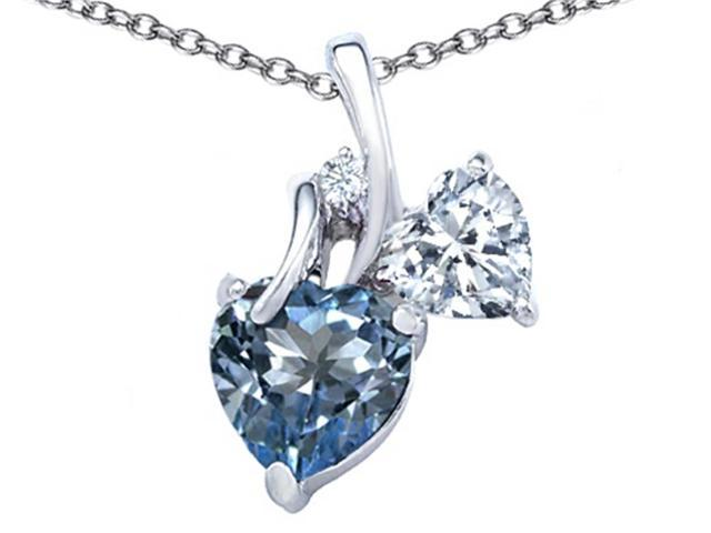 Star K 8mm Heart Shape Simulated Aquamarine Double Hearts Pendant Necklace in Sterling Silver