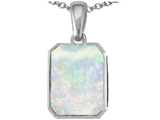 Star K Emerald Cut 10x8mm Created Opal Pendant Necklace in Sterling Silver