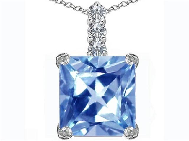 Star K Large 12mm Square Cut Simulated Aquamarine Pendant Necklace in Sterling Silver