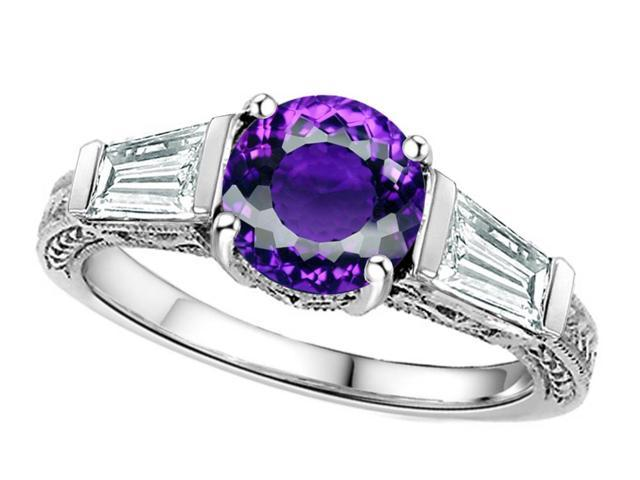 Star K Round 7mm Genuine Amethyst Ring in Sterling Silver Size 8