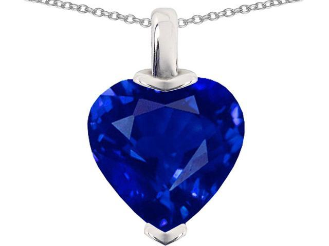 Star K Heart Shaped 10mm Created Sapphire Pendant Necklace in Sterling Silver