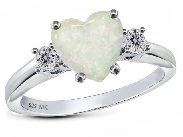 Star K 8mm Heart Shape Simulated Opal Ring in Sterling Silver Size 6