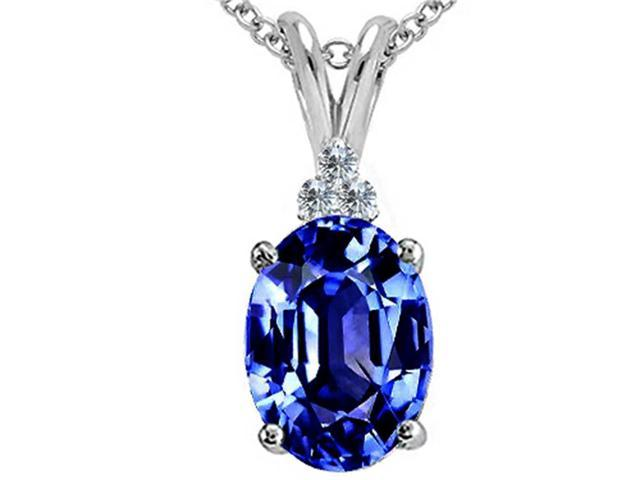 Tommaso Design Oval Simulated Tanzanite Pendant Necklace in 14 kt White Gold