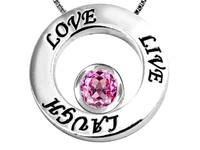 Star K Live/Love/Laugh Circle of Life Pendant Necklace with September Birth Month Round 7mm Created Pink Sapph