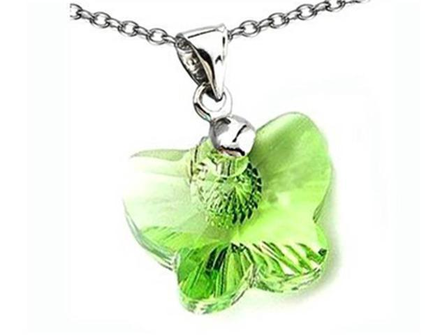 Sterling Silver Green Color Crystal Butterfly Pendant Necklace made with Swarovski Elements on 18 Inch