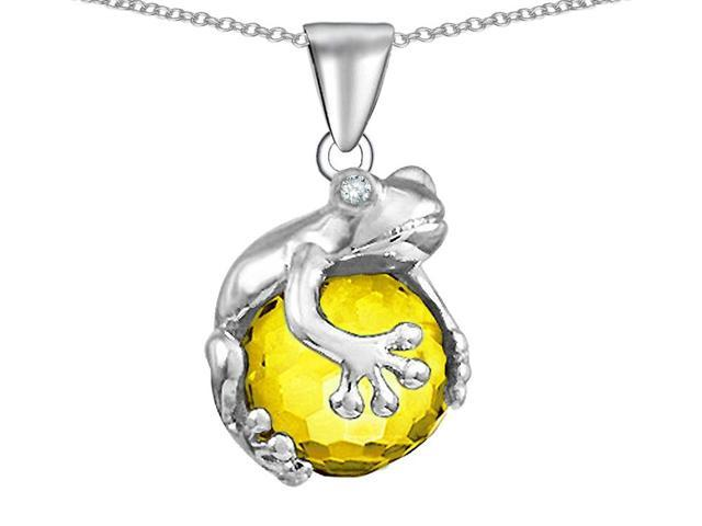 Star K Frog Pendant Necklace with 10mm Simulated Citrine Ball in Sterling Silver