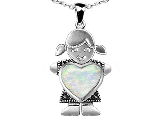 Star K Girl Holding 8mm Mother Heart October Birth Month Pendant Necklace with Created Opal in Sterling Silver