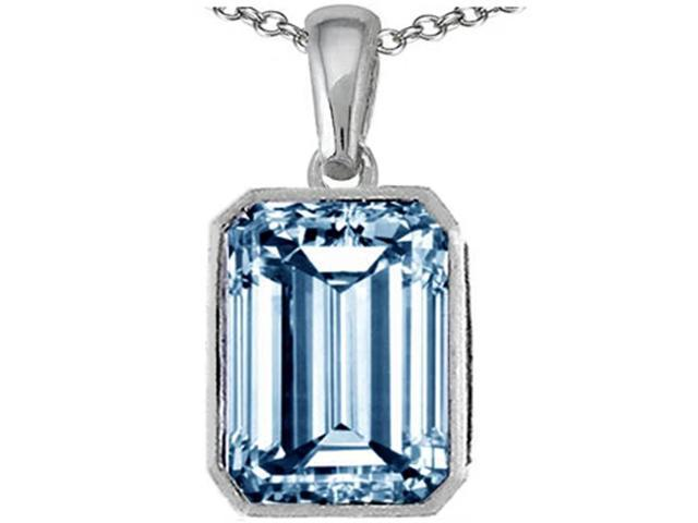 Star K Emerald Cut 10x8mm Simulated Aquamarine Pendant Necklace in Sterling Silver