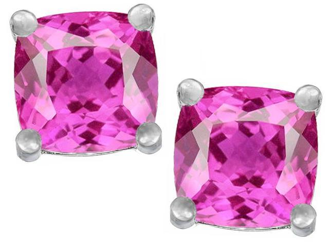 Star K Cushion Cut 7mm Created Pink Sapphire Earrings Studs in Sterling Silver