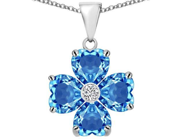 Star K 6mm Heart Shape Simulated Blue Topaz Lucky Clover Pendant Necklace in Sterling Silver