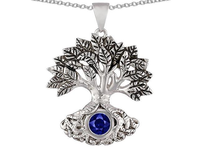 Star K Tree Of Life Good Luck Pendant Necklace with 7mm Round Created Sapphire in Sterling Silver
