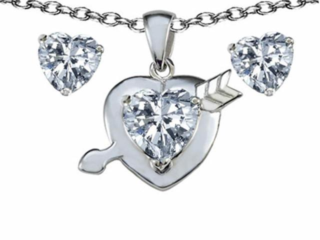 Star K Genuine White Topaz Heart with Arrow Pendant Necklace with Matching Earrings in Sterling Silver