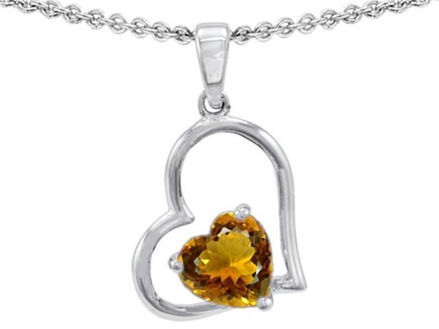 Star K 7mm Heart Shape Simulated Citrine Pendant Necklace in Sterling Silver