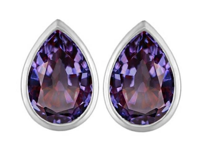 Star K 9x6mm Pear Shape Simulated Alexandrite Earrings Studs in Sterling Silver