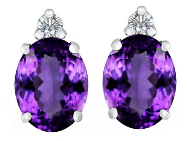 Star K 8x6mm Oval Simulated Amethyst Earrings Studs in Sterling Silver