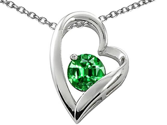 Star K 7mm Round Simulated Emerald Heart Pendant Necklace in Sterling Silver