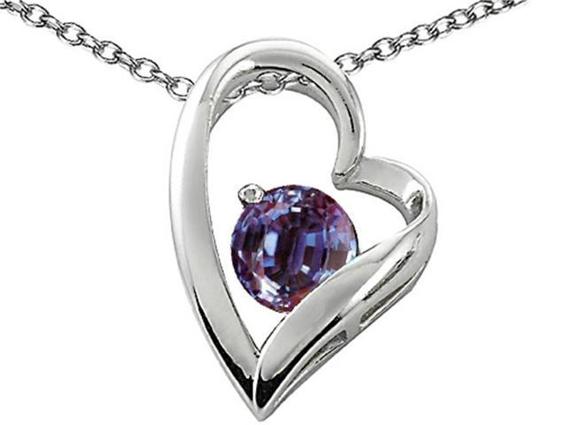 Star K 7mm Round Simulated Alexandrite Heart Pendant Necklace in Sterling Silver