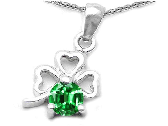Celtic Love by Kelly Round Simulated Emerald Lucky Clover Pendant Necklace in Sterling Silver