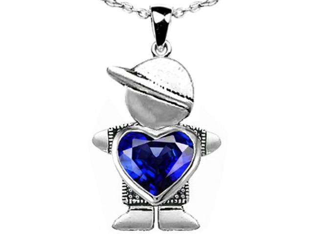 Star K Boy Holding 8mm Mother Heart September Birth Month Pendant Necklace with Created Sapphire in Sterling Silver