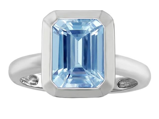 Star K 9x7mm Emerald Cut Octagon Solitaire Ring with Simulated Aquamarine in Sterling Silver Size 8
