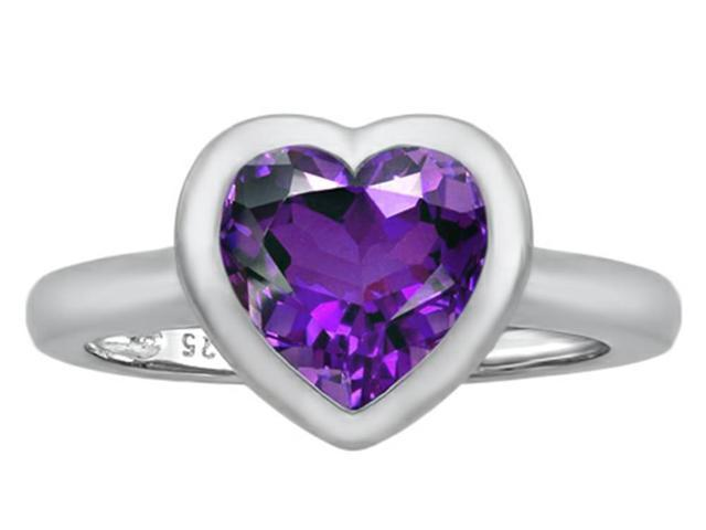 Star K 8mm Heart Shape Solitaire Ring with Simulated Amethyst in Sterling Silver Size 7