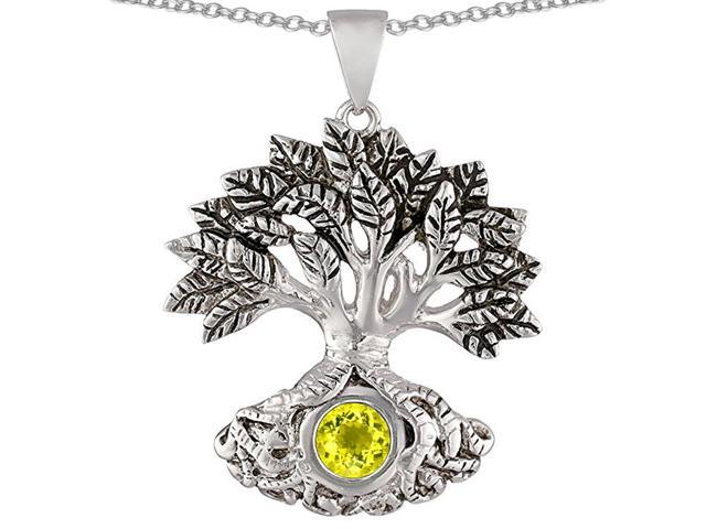 Star K Tree Of Life Good Luck Pendant Necklace with 7mm Round Simulated Yellow Sapphire in Sterling Silver