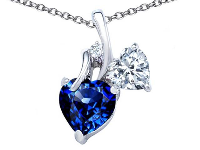 Star K 8mm Heart Shape Created Sapphire Double Hearts Pendant Necklace in Sterling Silver