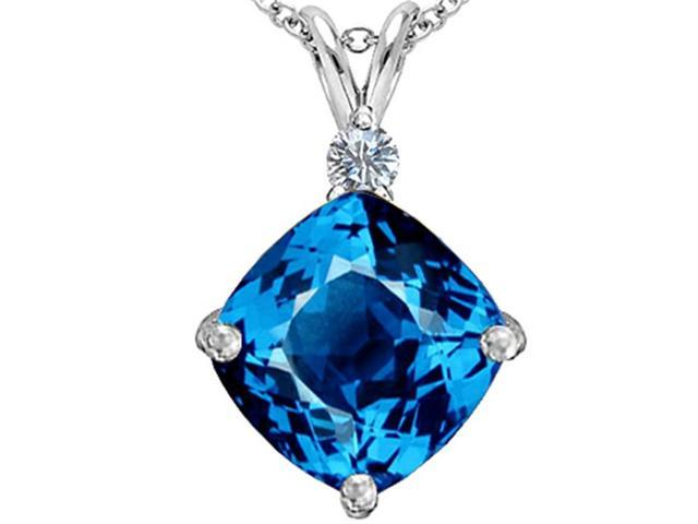 Star K Large 12mm Cushion Cut Simulated Blue Topaz Pendant Necklace in Sterling Silver