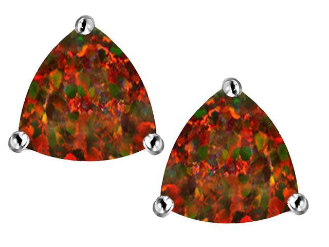 Star K Trillion 7mm Simulated Red Opal Earrings Studs in Sterling Silver