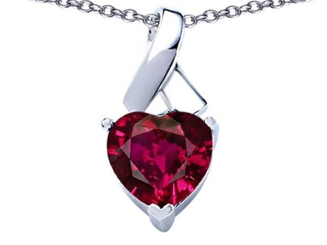 Star K 8mm Heart Shape Created Ruby Ribbon Pendant Necklace in Sterling Silver