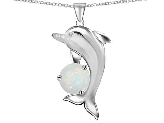Star K Round 7mm Created Opal Good Luck Dolphin Pendant Necklace in Sterling Silver
