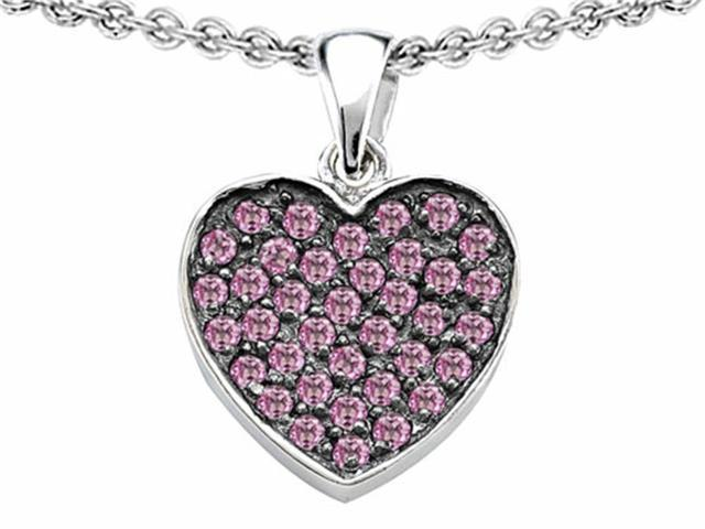 Star K Heart Shape Love Pendant Necklace with Created Pink Sapphire in Sterling Silver