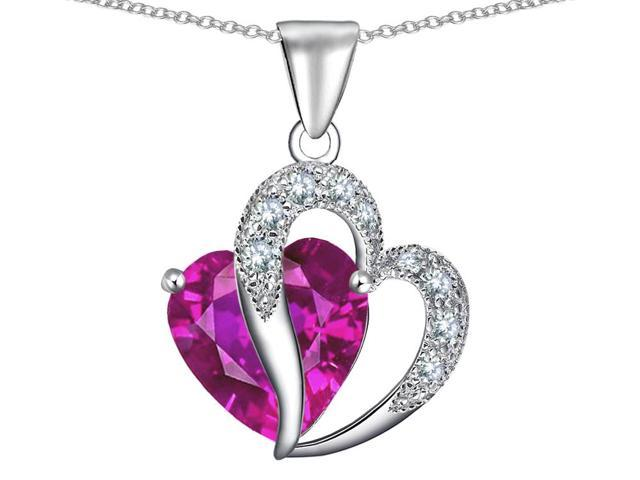 Star K Heart Shape 12mm Created Pink Sapphire Pendant Necklace in Sterling Silver